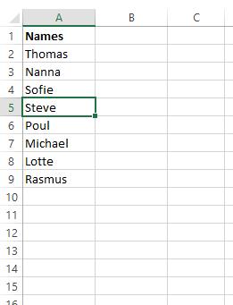 Navneskilte med unikke navne brevflettes ud fra excelfil