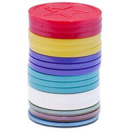 plastvognmønter eller poletter i farvet plastik